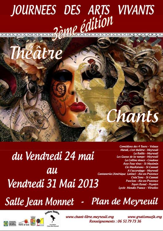 Affiche officielle et programme des Journées des Arts Vivants 2013 1