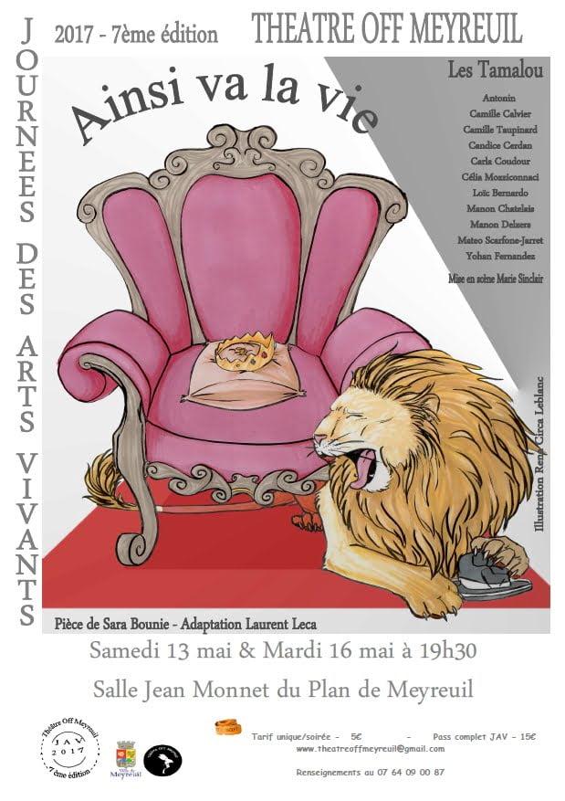 """Affiche """"Ainsi va la vie"""" comédie de Sara Bounie 1"""