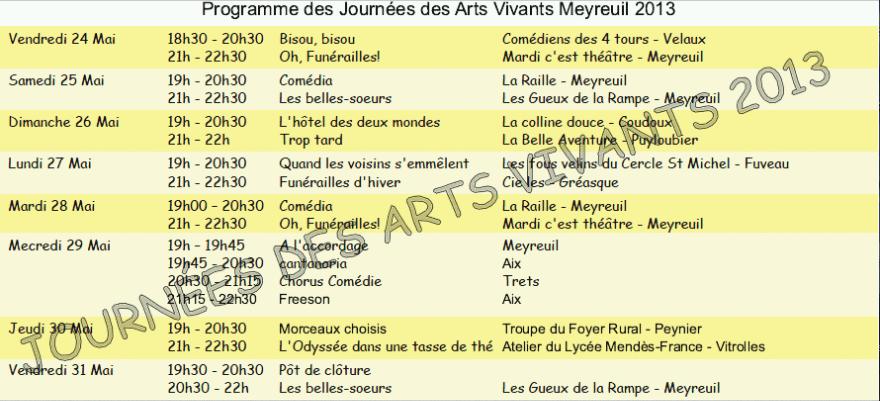 Affiche officielle et programme des Journées des Arts Vivants 2013 2