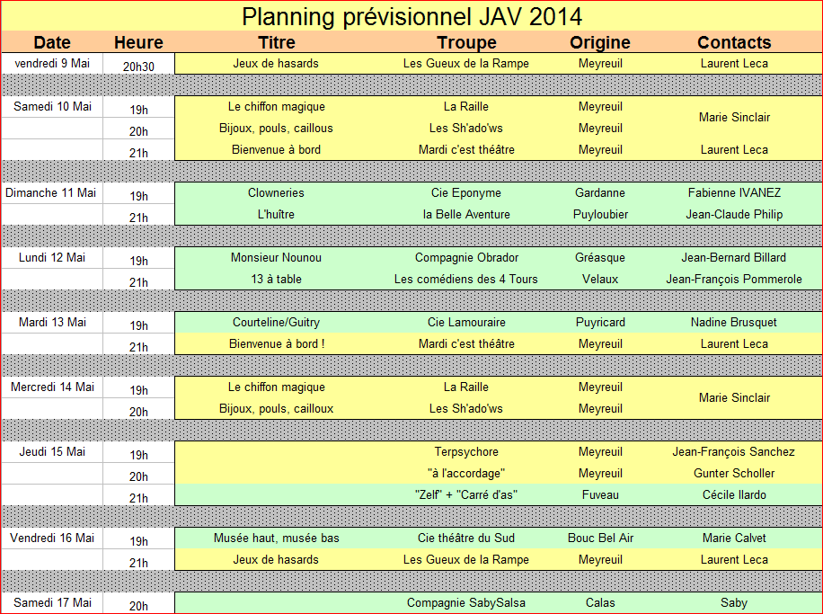 Les JAV 2014 : planning des Journées du 9 au 17 Mai 2014 2