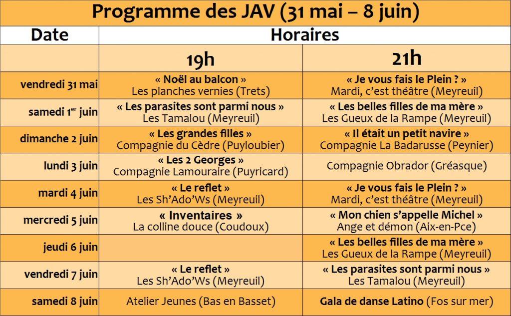 Calendrier des J.A.V. 2019 1
