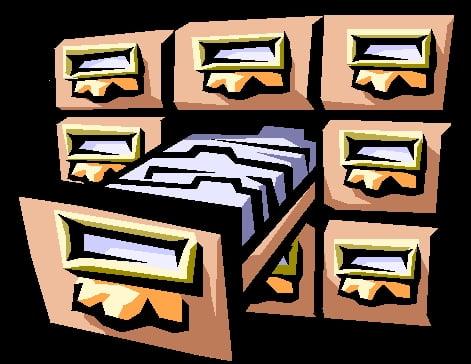 dessin de triroirs d'archives
